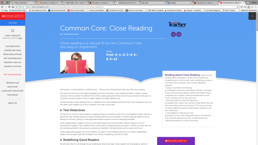 Instructor Magazine:  Common Core: Close Reading