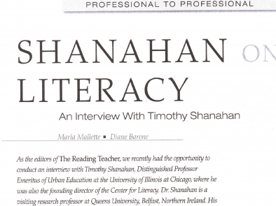 Shanahan On Literacy: An Interview with Timothy Shanahan