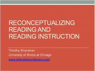 Reconceptualizing Reading and Reading Instruction