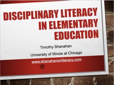 Disciplinary Literacy for Elementary School