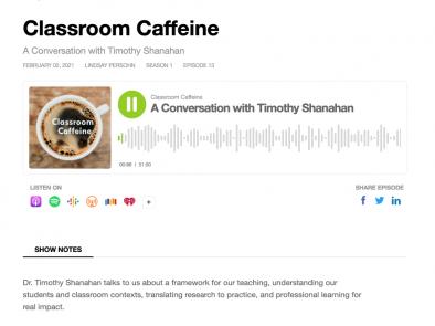 Classroom Caffeine : Conversation with Timothy Shanahan