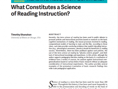What Constitutes a Science of Reading Instruction?